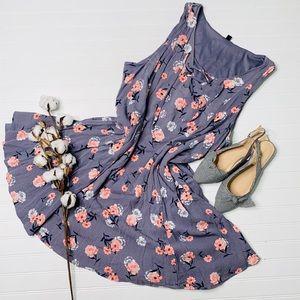 Torrid Floral Lace Up Trapeze Dress
